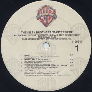 Isley Brothers / Masterpiece label