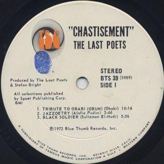 Last Poets / Chastisment label