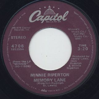 Minnie Riperton / Memory Lane c/w I'm A Woman back