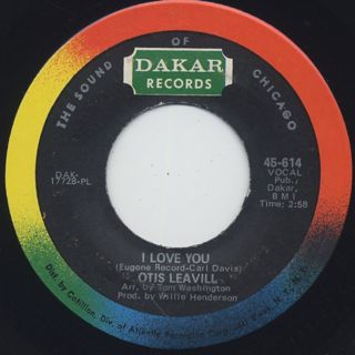 Otis Leavill / I Need You c/w I Love You back
