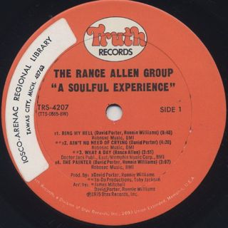 Rance Allen Group / A Soulful Experience label
