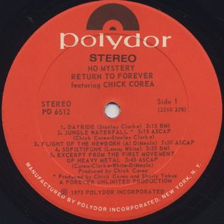 Return To Forever Featuring Chick Corea / No Mystery label