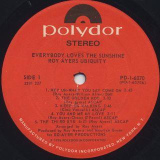 Roy Ayers Ubiquity / Everybody Loves The Sunshine label