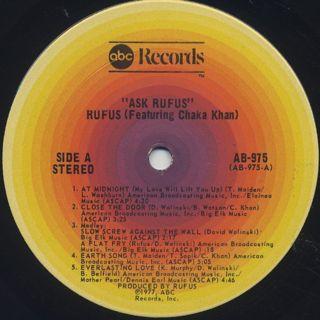 Rufus featuring Chaka Khan / Ask Rufus label