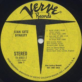 Stan Getz / Dynasty label