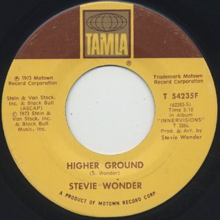 Stevie Wonder / Higher Ground c/w Too High back