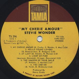 Stevie Wonder / My Cherie Amour label
