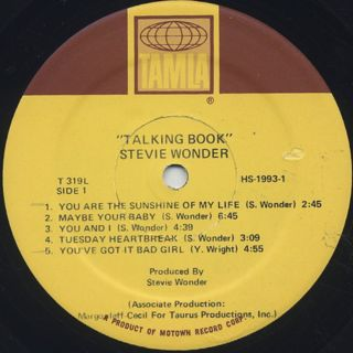 Stevie Wonder / Talking Book label