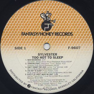 Sylvester / Too Hot To Sleep label