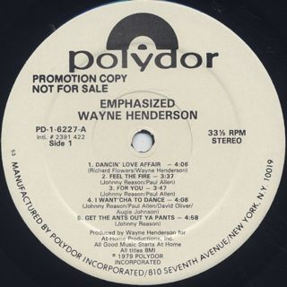 Wayne Henderson / Emphasized label