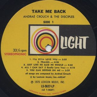 Andrae Crouch & The Disciples / Take Me Back label
