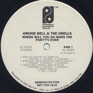 Archie Bell & The Drells / Where Will You Go When The Party's Over label