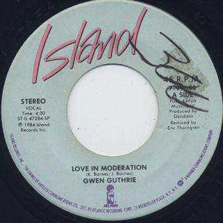 Gwen Guthrie / Love In Moderation c/w Seventh Heaven back