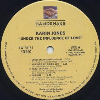 Karin Jones / Under The Influence Of Love label