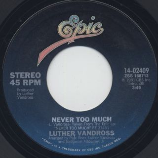 Luther Vandross / Never Too Much (45)
