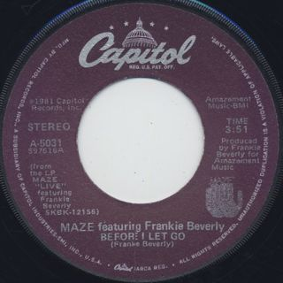 Maze featuring Frankie Beverly / Before I Let Go c/w Joy & Pain ① back