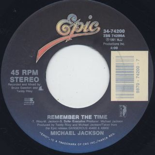 Michael Jackson / Remember The Time c/w Black Or White back
