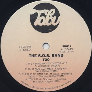 S.O.S. Band / Too label