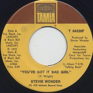Stevie Wonder / Superstition c/w You've Got It Bad Girl ① back