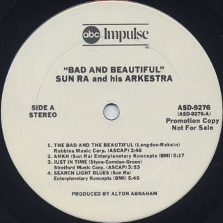 Sun Ra And His Arkestra / Bad & Beautiful label