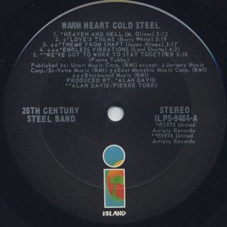 20th Century Steel Band / Warm Heart Cold Steel label