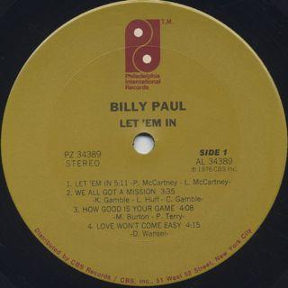 Billy Paul / Let 'Em In label