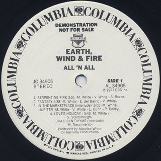 Earth Wind & Fire / All 'N All label