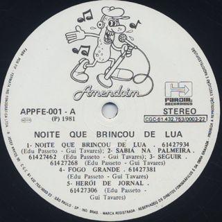 Edu Passeto & Gui Tavares / Noite Que Brincou De Lua label