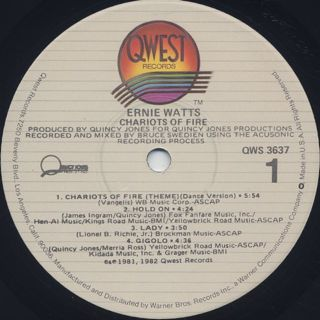 Ernie Watts / Chariots Of Fire label