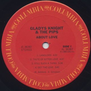 Gladys Knight And The Pips / About Love label
