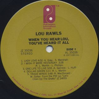 Lou Rawls / When You Hear Lou, You've Heard It All label