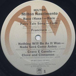 Milton Nascimento / Milton('76) label