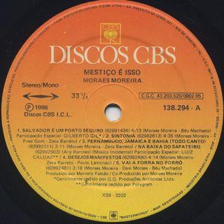 Moraes Moreira / Mestiço É Isso label