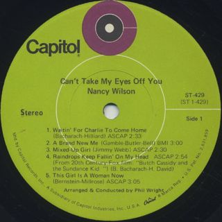 Nancy Wilson / Can't Take My Eyes Off You label