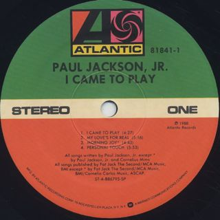 Paul Jackson Jr. / I Came To Play label