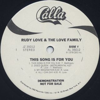 Rudy Love And The Love Family / This Song Is For You label