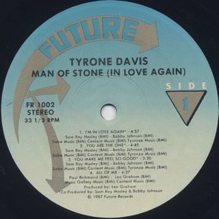 Tyrone Davis / Man Of Stone In Love Again label