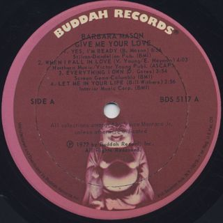 Barbara Mason / Give Me Your Love label