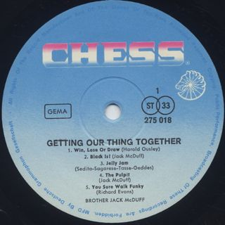 Brother Jack McDuff / Getting Our Thing Together label