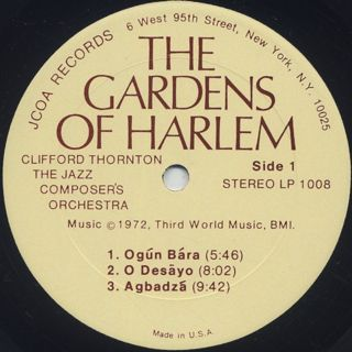 Clifford Thornton & The Jazz Composer's Orchestra / The Gardens Of Harlem label