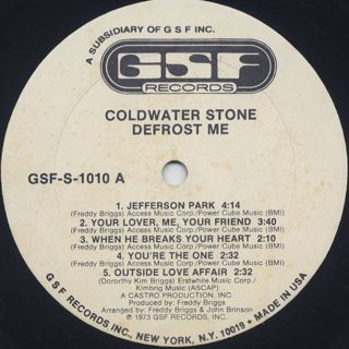 Coldwater Stone / Defrost Me label