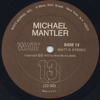Michael Mantler / Carla Bley - 13 & 3/4 label