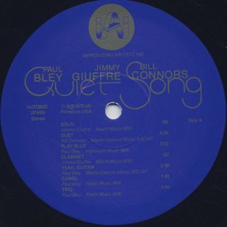 Paul Bley / Jimmy Giuffre / Bill Connors - Quiet Song label