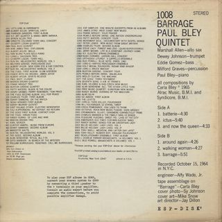 Paul Bley Quintet / Barrage back