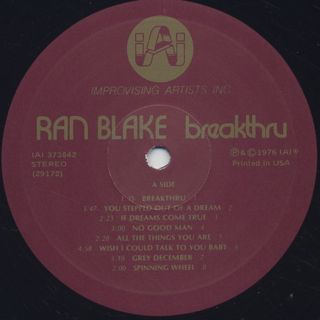 Ran Blake / Breakthru label