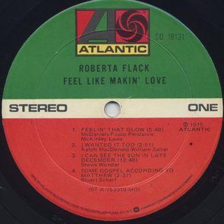 Roberta Flack / Feel Like Makin' Love label