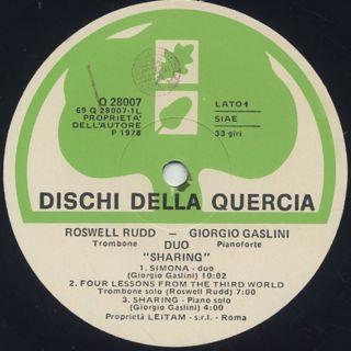 Roswell Rudd - Giorgio Gaslini Duo / Sharing label
