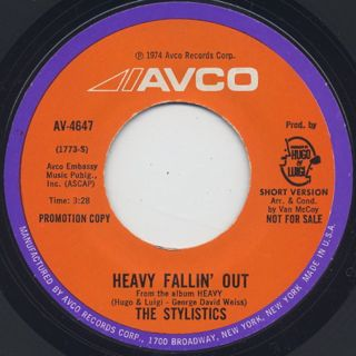 Stylistics / Heavy Fallin' Out(Long) c/w (Short) back