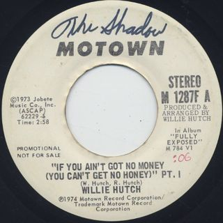 Willie Hutch / If You Ain't Got No Money (You Can't Get No Honey) back