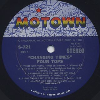 Four Tops / Changing Time label